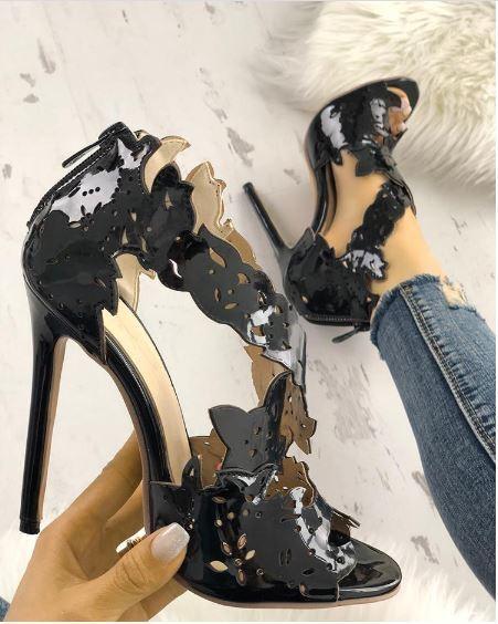 Sandali stiletto tronchetto negro lucido alti 12 pelle sintetica eleganti 1348