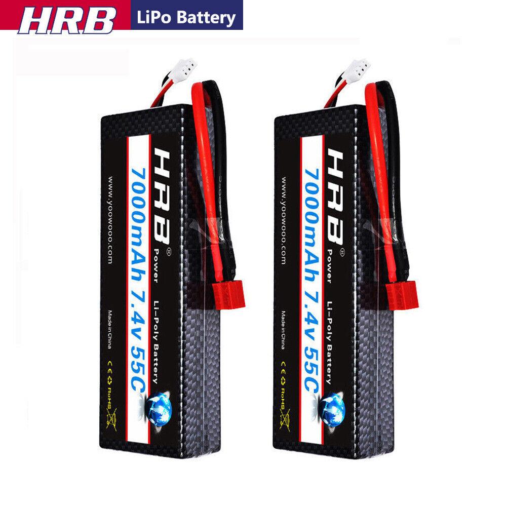 2x HRB 2S2P 7.4V 7000mAh LiPo  Battery 55-110C Deans for RC auto 1384625mm Drone  negozio a basso costo
