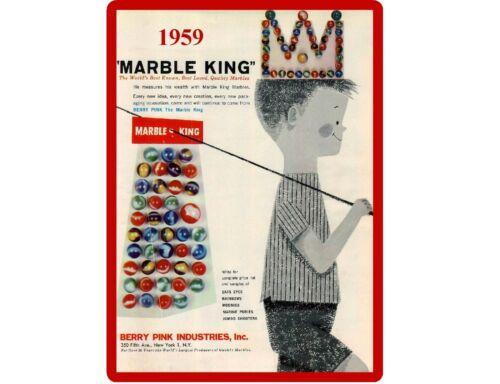 1959 Marble King Toy Marbles Publicidad Refrigerador herramienta caja imán