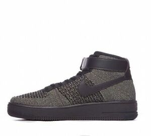 quality design 774c8 04dd4 Details about NIKE AIR FORCE 1 ONE AF1 FLYKNIT MID : BLACK / GREEN : 817420  301 : UK 6, 6.5, 7