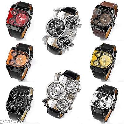 Oulm Mens Sport Military Quartz Multiple Time Zone Dial Wrist Watch Luxury Cool
