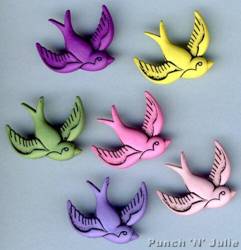 MIXED BIRDS Swallow Kitsch Tattoo Summer Girl Novelty Dress It Up Craft Buttons