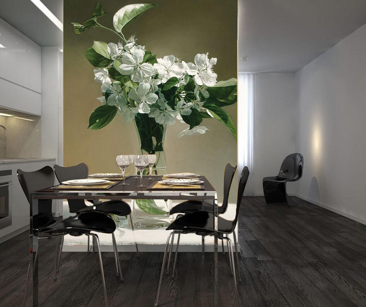 3D Vase von weißen Blaumen 2 Fototapeten Wandbild Fototapete BildTapete FamilieDE
