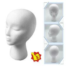 White Female Head Model Wig Hair Hat Glass Display Styrofoam Foam Mannequin New