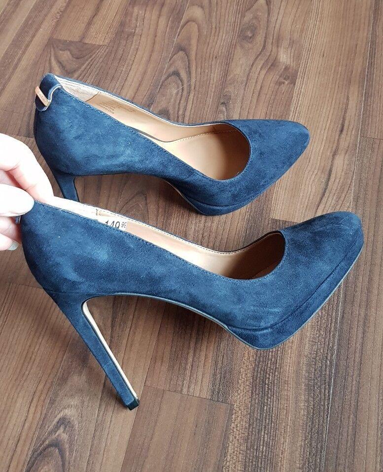 NEU Calvin Klein Pumps Wildleder Gr.36 NEU dunkel Blau edel High Heels Leder
