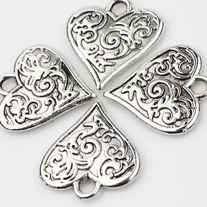 10PCS-Tibet-Silver-Love-Heart-Beads-Charm-Pendant-Flower-Carved-Jewelry-Making