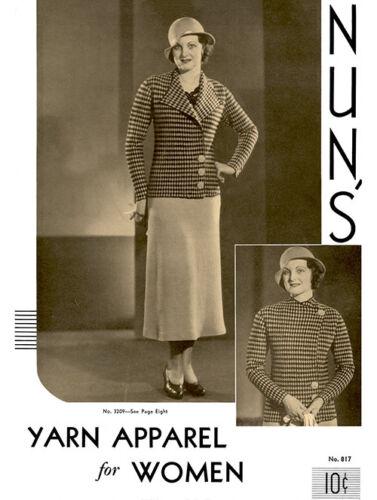 Knitting /& Crochet Patterns for Women/'s Fashions Nun/'s #817 c.1933