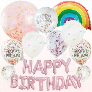Rosa-Pastello-Rainbow-PARTY-PALLONCINI-Ragazze-Festa-di-Compleanno-Forniture-Decorazioni