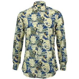Blue Cats Psychedelic Shirt Fancy Fit Mens Slim Loud Retro Originals 4qYwAFxvf