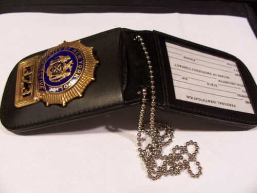 New York /& New Jersey Police Detective Shield /& ID Neck Holder with chain