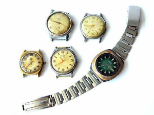 5x-Vintage-WRIST-WATCHES-for-Parts-Steampunk-German-Swiss-Japan-ca-1960s