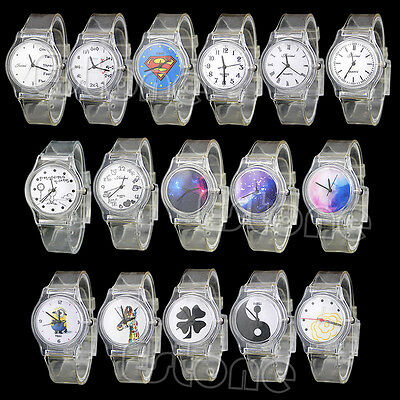 Ladies Women Girl Plastic PVC Quartz Analog Sports Transparent Dial wrist Watch