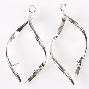 20x-New-Silver-Plated-Tone-Flexual-Earwires-Hooks-Earring-Handmade-Findings-40mm