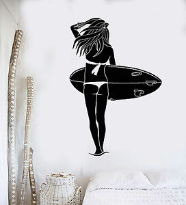 ig4161 Vinyl Wall Decal Surfing Girl Extreme Sports Art Ocean Beach Stickers