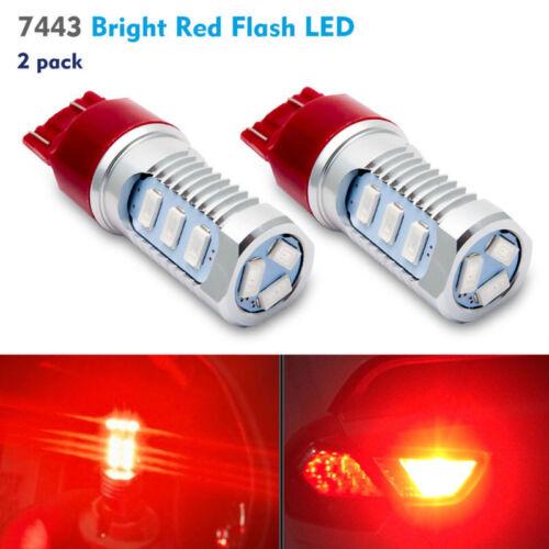 2x 7443 Bright Red Flashing Strobe Rear Safety Alert Brake Tail LED Lights Bulbs