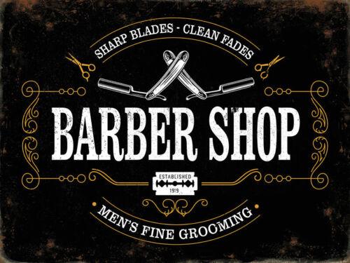Barber Shop Sharp Blades Clean fondus Homme Toilettage Moyen Métal//Acier Mural Signe