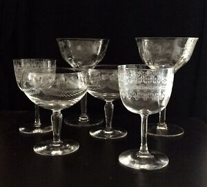 Mixed-Lot-6-Vintage-Elegant-Etched-Cordial-Port-Champagne-Glasses