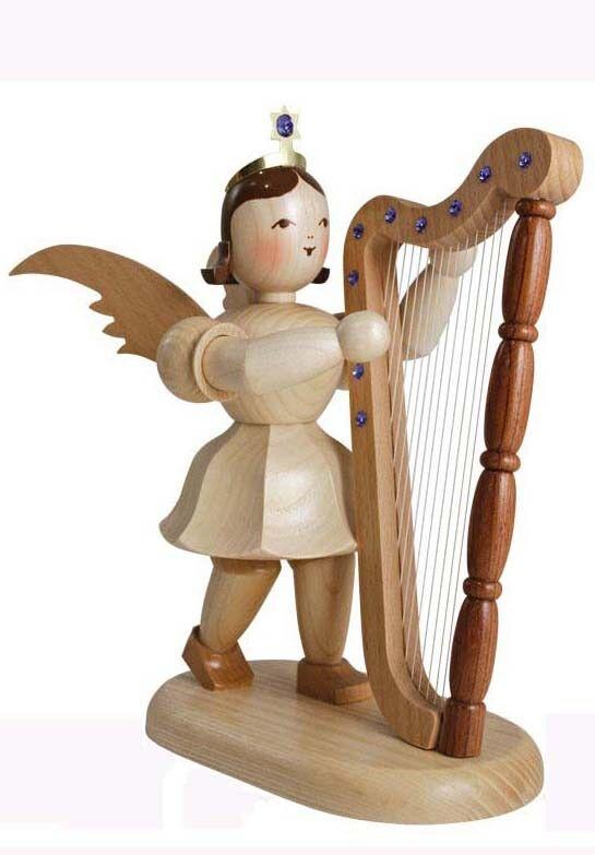 Engel mit Harfe natur und Swarovski-Kristallen H 20cm EKM008S