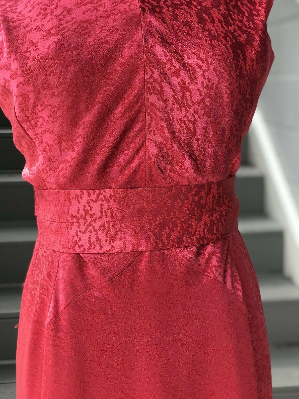 1950s Rasberry Jacquard Formal Dress + Belt - image 5