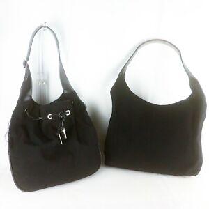 Auth-GUCCI-Nylon-Canvas-Leather-Shoulder-Bag-Hobo-Purse-Black-2-Pieces-Set