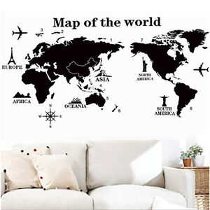 Diy world map removable pvc vinyl art room wall stickers decals image is loading diy world map removable pvc vinyl art room gumiabroncs Gallery