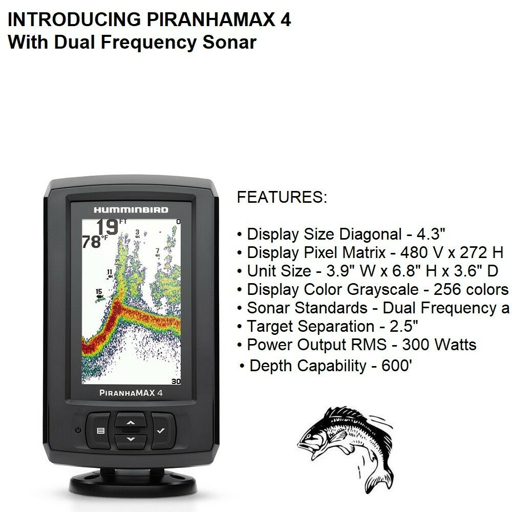 Humminbird Piranhamax 4  2400 Watts PTP Power Output with Dual Frequency Sonar