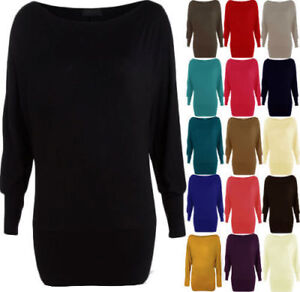 Womens-Batwing-Basic-Long-Sleeve-Ladies-Plain-Stretch-T-Shirt-Top-Size-UK-8-26