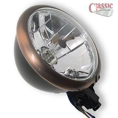 Motorcycle Bates Style Headlight Copper Effect Rim 5 3//4/'/'