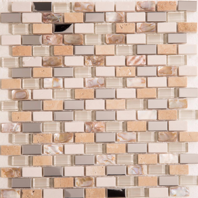 1 SQ M Polished Steel, Stone & Glass Mosaic Wall Tile Sheet 300x300x8mm (MT0145)