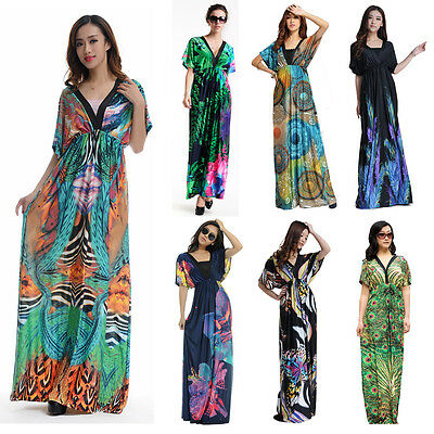 US 10-32 M-XXXXXXL plus size sexy women floral maxi boho beach summer long dress