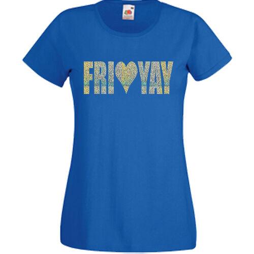 Fri Yay T-Shirt Fashion Heart Friday Weekend Tee Top Dope Unicorn