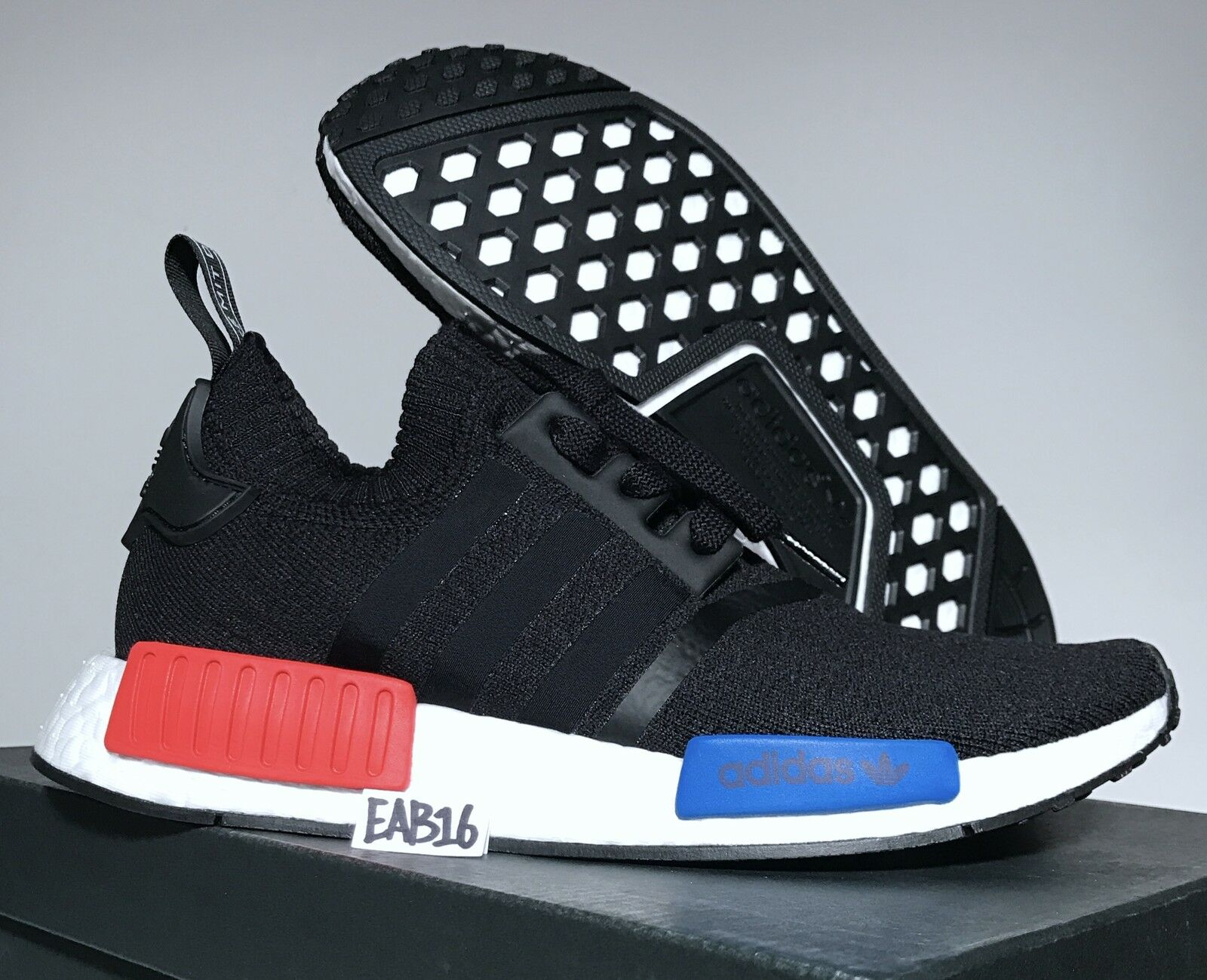 Adidas Originals NMD_R1 OG PK S79168 Black Red bluee Nomad Boost Primeknit Size
