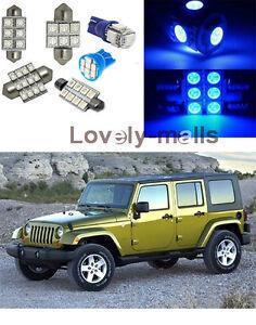 Blue Led Lights Interior Package Map License Dome For Jeep Wrangler 2007 2015 Ebay