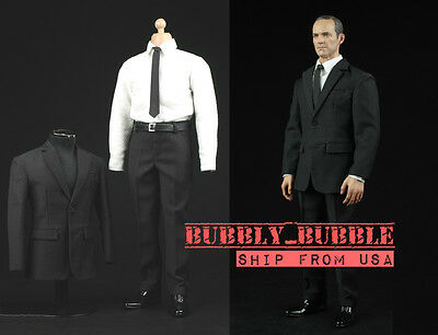 1//6 scale Black white business Suit Agent Man clothes for Hot toys ❶US seller❶