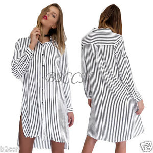 Women-Fashion-Dress-Long-Sleeve-Stripe-Loose-Casual-Turn-down-Collar-Shirt-Dress