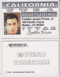 Details about Freddie Prinze JR California CA Drivers License FAKE ID card  star of Scooby Doo