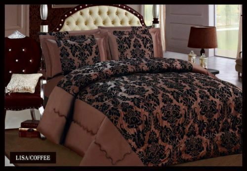 Damask 4 Pcs Complete Bedding Set Duvet Cover Set Double /& King Sizes Brown