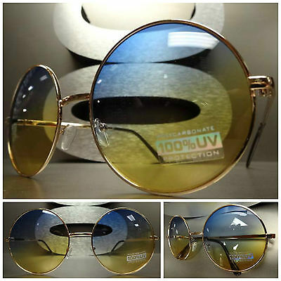 OVERSIZE EXAGGERATED VINTAGE SUN GLASSES Round Gold Wire Frame Blue Yellow Lens