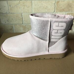 a80c78c9c10 Details about UGG Classic Mini UGG Sparkle Logo Graphic Seashell Pink Suede  Boots Size 5 Women
