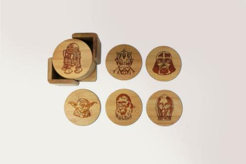 Round or Square  #23009 Star Wars Coasters Set of 6 Laser Engraved Bamboo