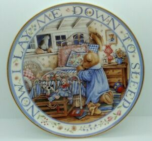 Royal-Doulton-Fine-Bone-China-Teddy-Bear-Plate-Now-I-Lay-Me-Down-to-Sleep