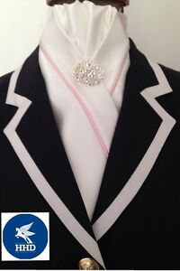 HHD White Satin Dressage Pre-tied Show Stock Tie  Pink Piping /& a Silver Pin