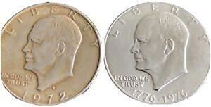 Eisenhower Dollars Set Of Two 1972 & 1976