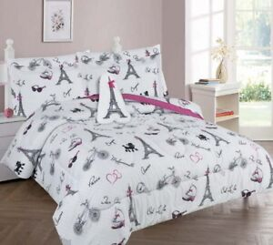 White Black Pink Paris Eiffel Tower Complete Bed Comforter