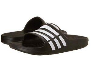 25ba03ff0 Image is loading Youth-Adidas-Originals-Duramo-Slide-Sandal-Black-White-