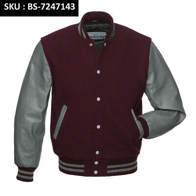 Varsity Bomber Letterman Baseball Maroon Wool /& Cream Leather Sleeves jacket