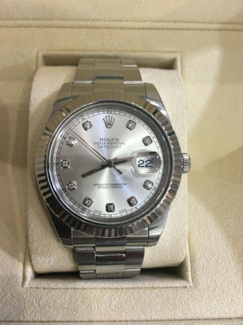 Rolex 41MM Datejust 2 Watch 18K Fluted Bezel Stainless Steel Ref 116334 Diamonds