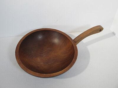 Birch Bowl Wooden Handle MnM Mort Marton Vintage Mid Century Canada Label