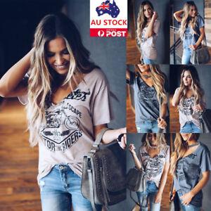 Women-Choker-V-Neck-Short-Sleeve-T-shirt-Summer-Beach-Casual-Party-Tops-Blouse
