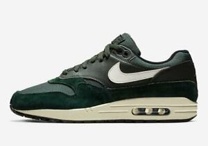 Nike Air Max 1 OUTDOOR GREEN SUEDE DARK SAIL OFF WHITE BLACK